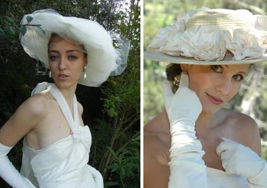 Picture Hats: Horsehair hat wrapped in ivory tulle & Straw hat with hand-rolled silk dupion cabbage