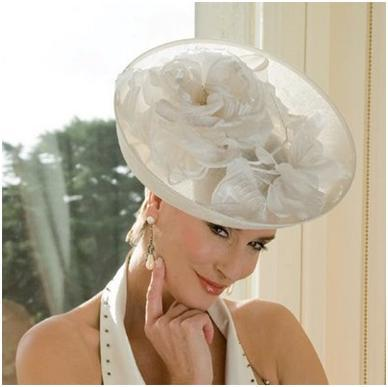 White Cocktail Hat accented with white flowers