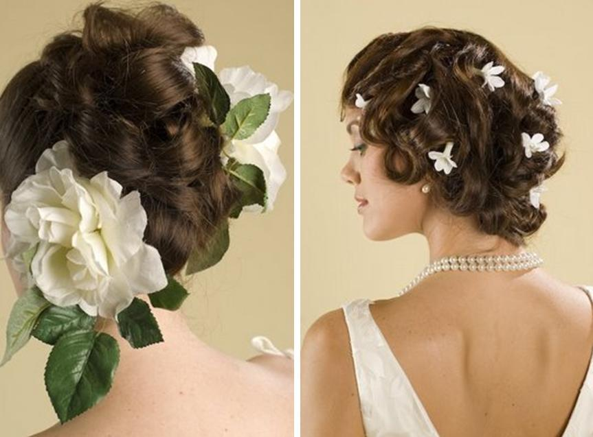 Large white flowers with green leafs many small white flowers large white flowers with green leafs many small white flowers accent brides hairstyle mightylinksfo