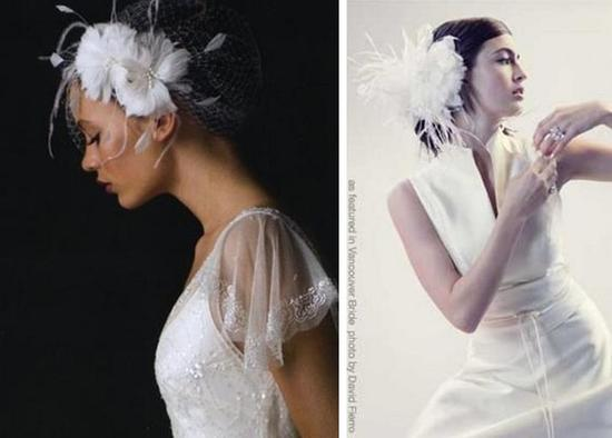 Fascinators of plumes and feathers in white