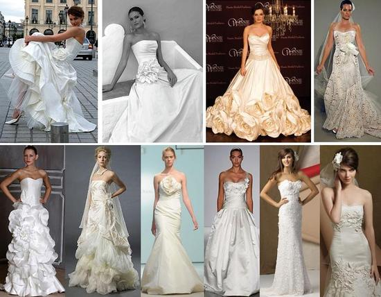 2009 Designer Wedding Gowns with Floral Details and Embellishments