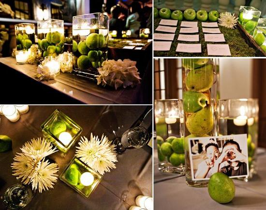 Gorgeous green and ivory details, using apples, limes, candles and hurricane vases
