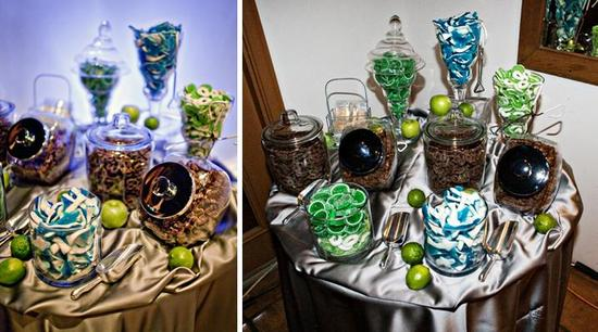 Yummy candy bar with green, blue, and brown candy