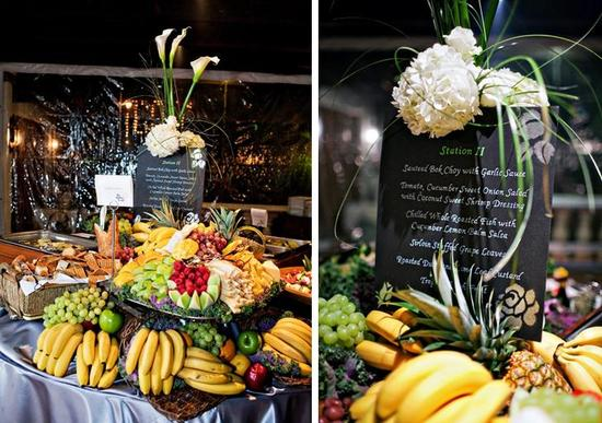 Food station at the wedding featuring colorful fruit