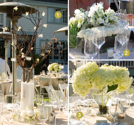 White and cream floral centerpieces accented with green and manzanita branches