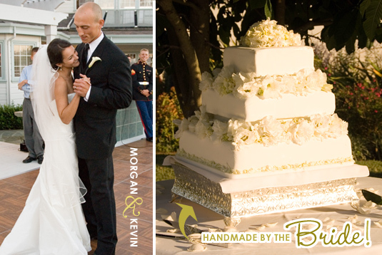 Bride and Groom have first dance; beautiful ivory cake