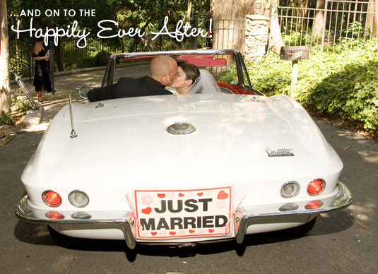 Happily Ever After as bride and groom drive into the sunset