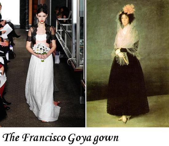 Goya-inspired wedding dress with Spanish-style black lace bolero jacket