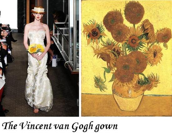 Carolina Herrera's wedding dress inspired by van Gogh's Sunflowers