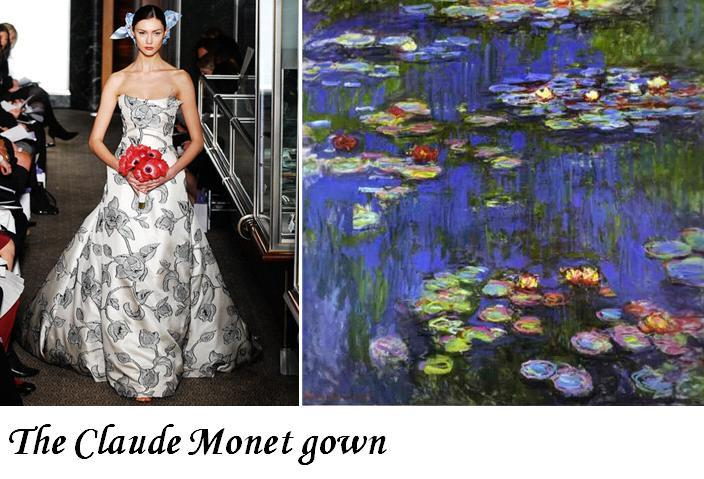Monet's famous water lillies were handpainted on this white and black wedding dress