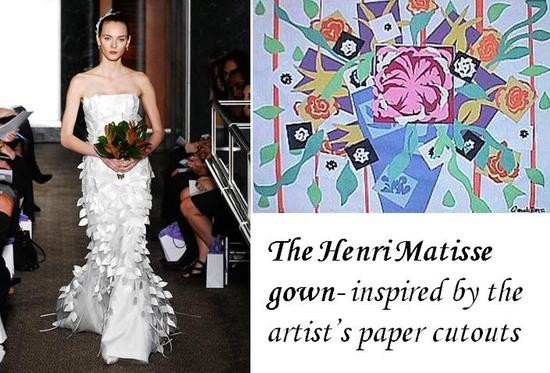 This white wedding dress featured Matisse-inspired paper cutouts