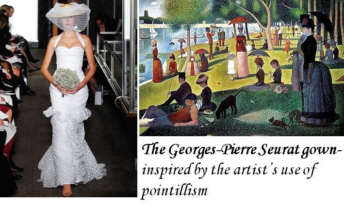 Beautiful white wedding dress, inspired by Seurat, featured a polka-dot theme