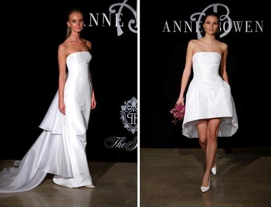 Bowen's bridal gowns in crisp white, both strapless, one full length, one short