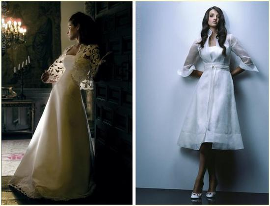 Full length and knee length a-line wedding dresses; one with lace jacket, one with organza overcoat