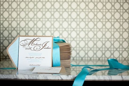 Beautiful cocoa and aqua letterpress wedding invitations can be paired with digitally printed weddin