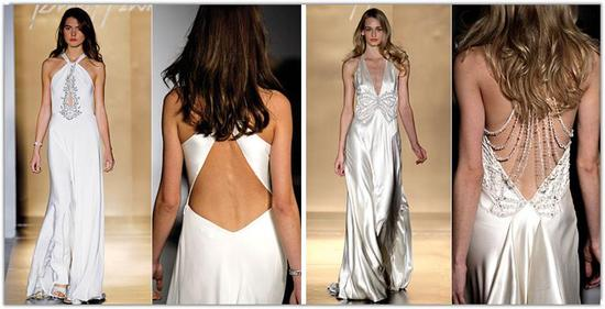Sexy and low-back wedding dresses with crystal details from designer Jenny Packham