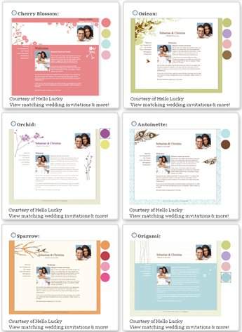 Free Wedding Website Designs from Hello!Lucky Invitations