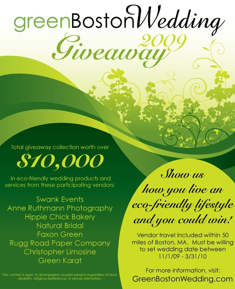 Don't miss your chance to win over $10k in green wedding items/services for your Boston wedding!