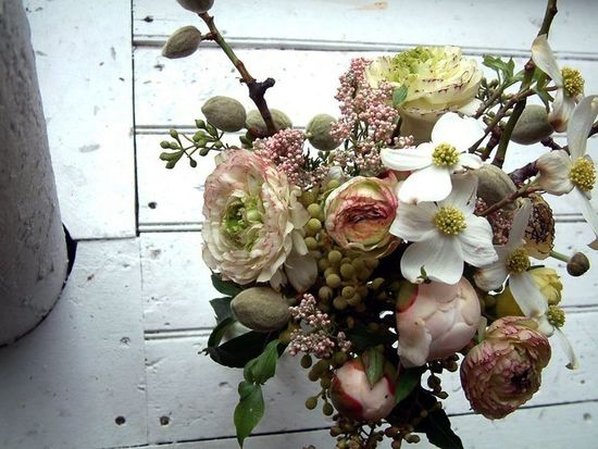 Rustic dogwood wedding bouquet