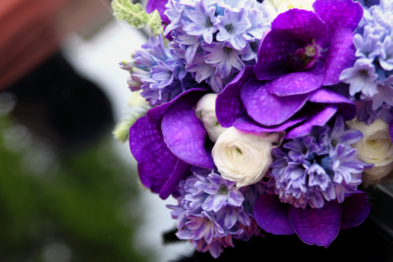 Purple and ivory hyacinth bridal bouquet