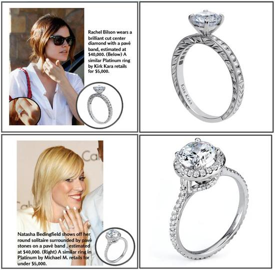 Rachel Bilson's brilliant cut center diamond; Bedingfield's round solitaire engagement ring