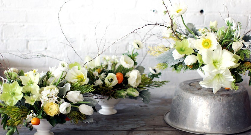 White green yellow Spring wedding centerpieces