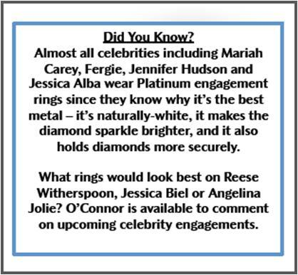 Celebrities chose Platinum engagement rings for the high-quality