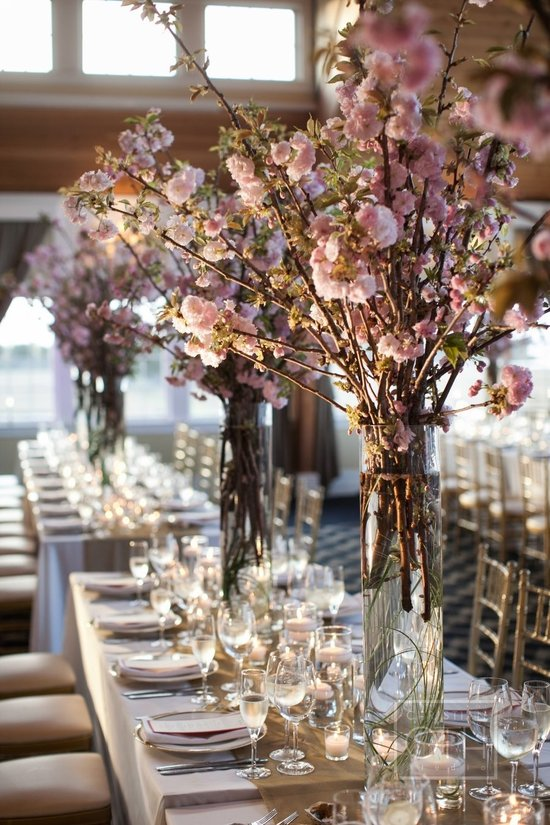 Romantic cherry blossom wedding centerpiece