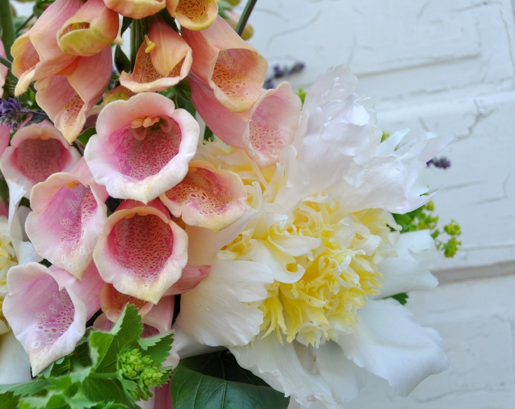 Romantic foxglove wedding bouquet