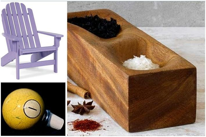 Lavender garden chair, yellow cue-ball wine stopper, mahogony wood dish- all eco-friendly!
