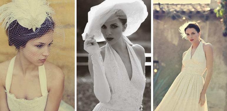 Beautiful birdcage veil and halter style white wedding for Dress hats for weddings