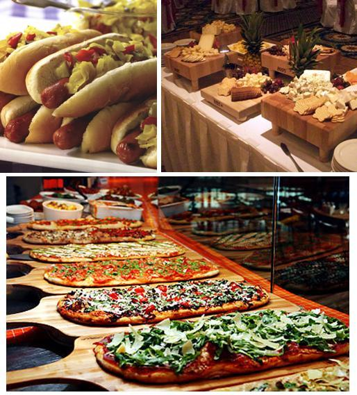 Yummy hotdogs, cheese and fruit station, and brick oven pizzas will keep your wedding guests happy!