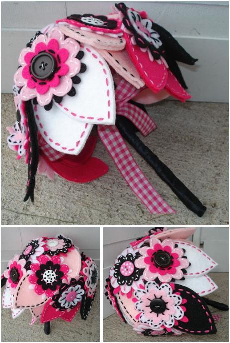 Funky white, black and pink felt, ribbon, and button bouquet