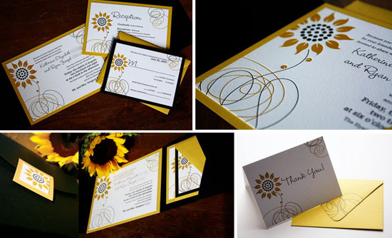 Sunflower Embellished Wedding Invitations