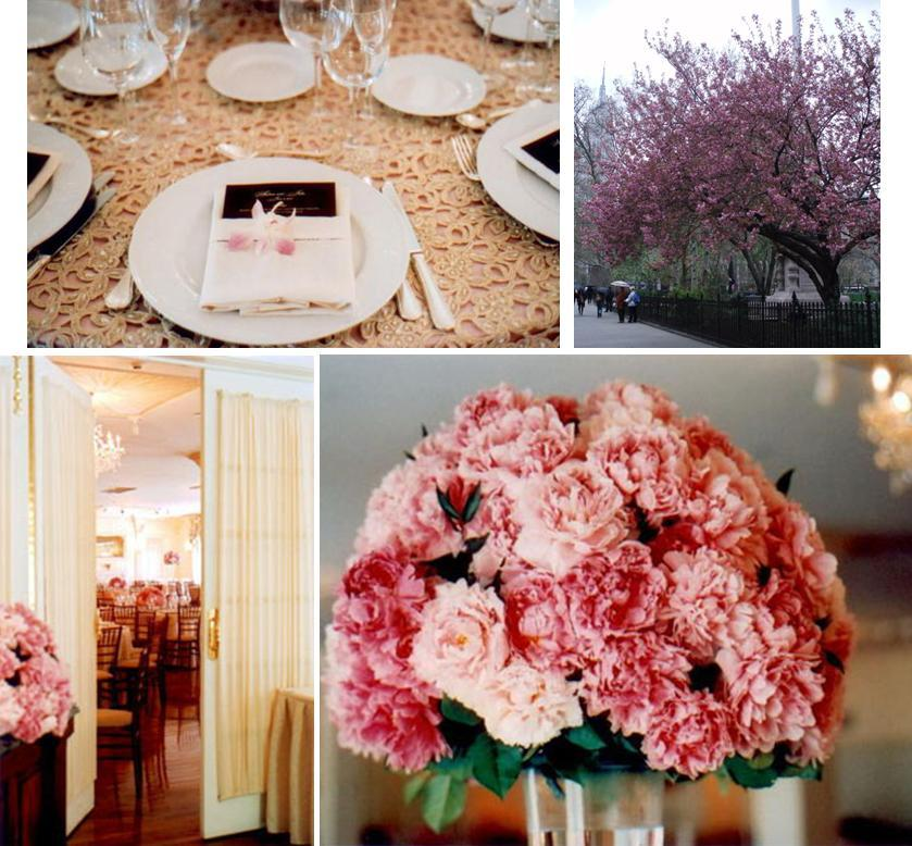 Pink And Brown in Madison Square Park, and gorgeous pink floral centerpiece