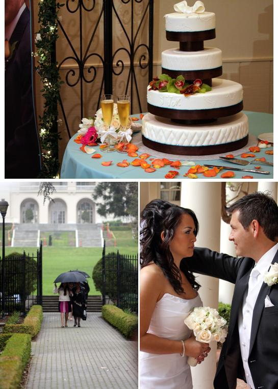 Featured-wedding-saratoga-ca-white-and-chocolate-cake-with-orange-pink-flowers-bride-n-groom-together.full