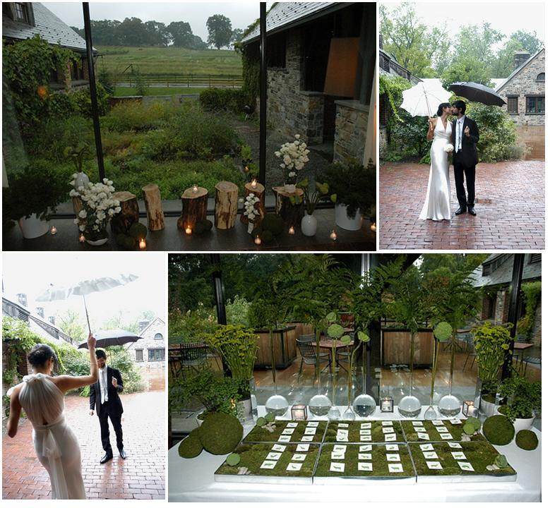Lush greenery was the perfect backdrop for this beautiful couple, posing under umbrellas