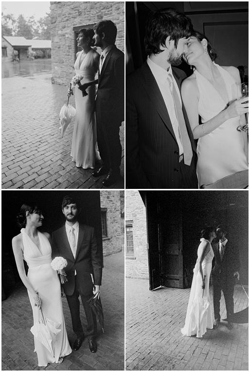 Beautiful bride and groom pose outside in these black and white wedding photos
