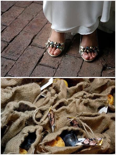 Beautiful jeweled shoes worn by the bride; sustainable favors for wedding guests