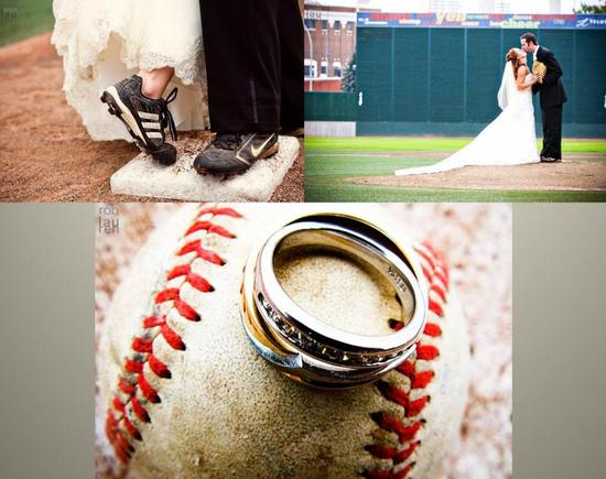 Gorgeous wedding photos from this baseball-themed wedding