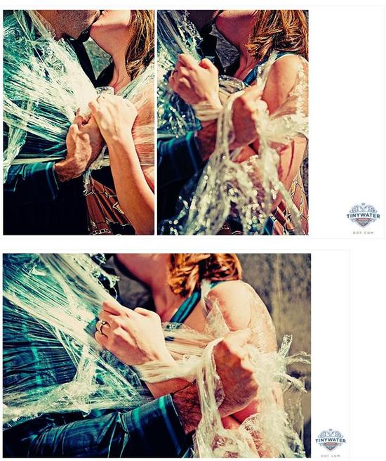 Edgy, artistic engagement photo shoot using saran wrap!