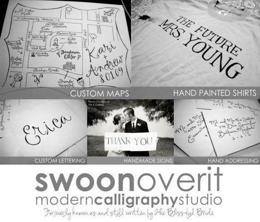 Swoon Over It Modern Calligraphy Studio- custom services for your wedding needs