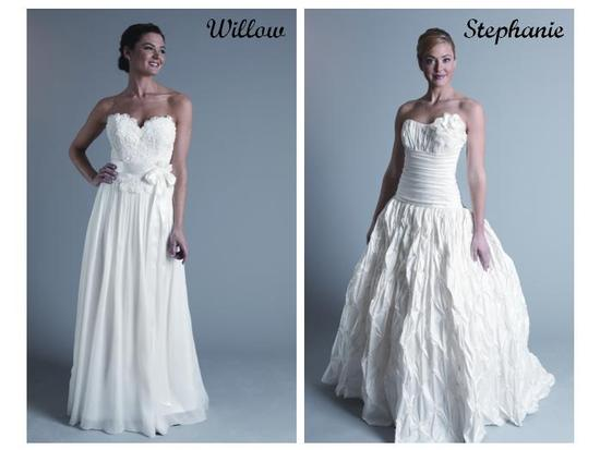 White wedding dresses-sweetheart neckline with bow at waist; rouched bodice with full crinkly skirt