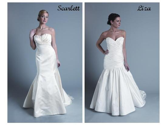 Strapless white wedding dresses- crumb catcher and sweetheart necklines, trumpet-style skirts