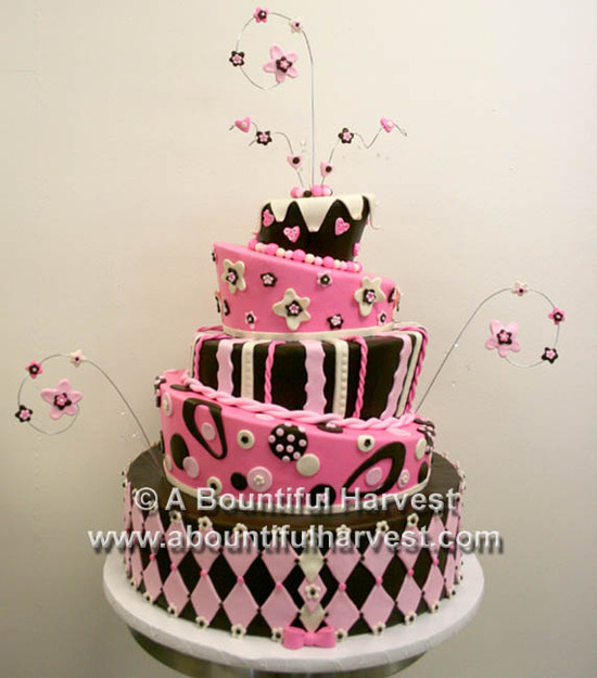 Pink topsy wedding cake