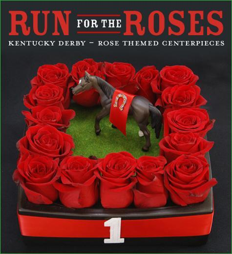 photo of red rose centerpiece inspired by the Kentucky Derby Winner's Circle