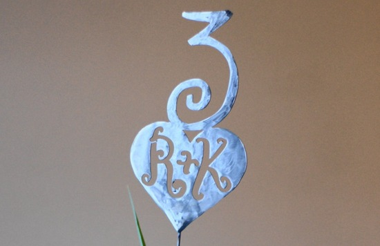 Whimsical metal monogram wedding table number