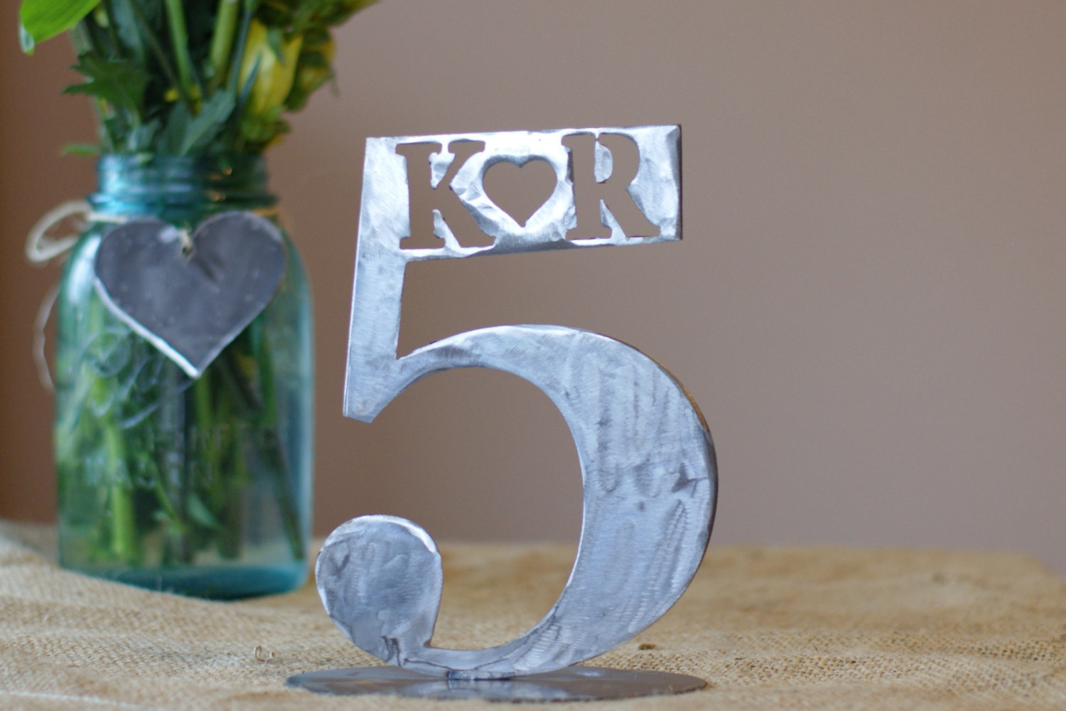 unique melted metal wedding table number