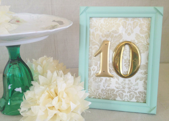 Address numbers pastel teal and gold wedding table number