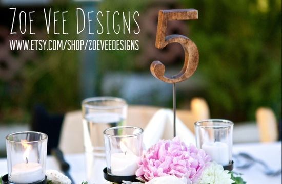 Wooden stick wedding table numbers